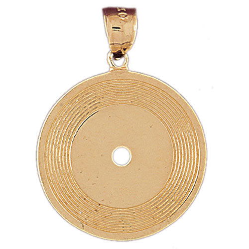 14k Yellow Gold Record Charm