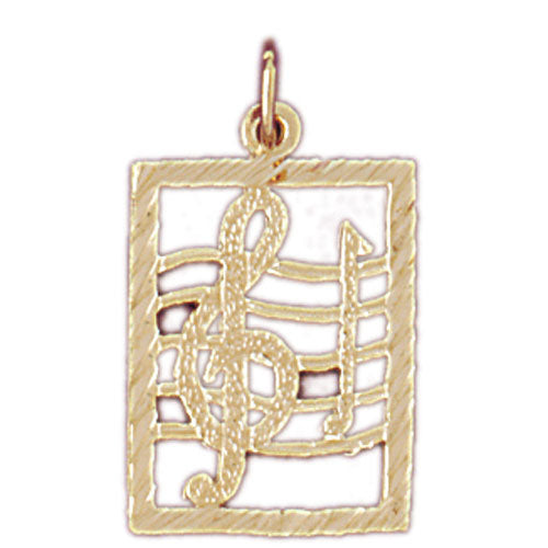 14k Yellow Gold Musical Notes Charm
