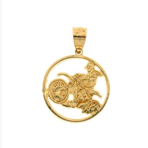 14k Yellow Gold Dirt Bike Charm