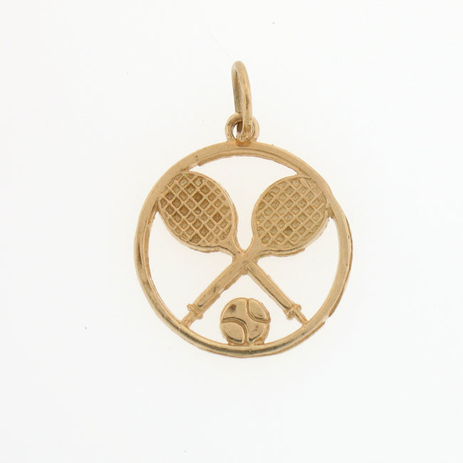 14k Yellow Gold Tennis Racket and Ball Charm