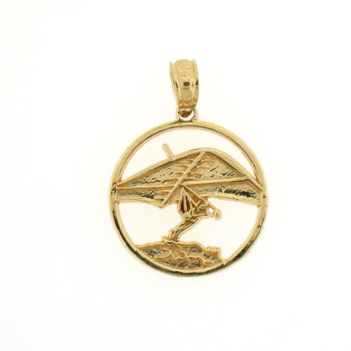 14k Yellow Gold Hand Gliding Charm