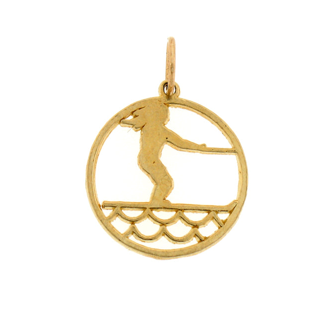 14k Yellow Gold Surfer Charm