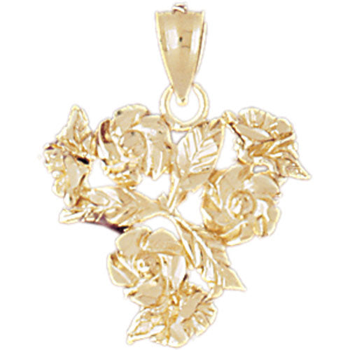 14k Yellow Gold Flowers Charm