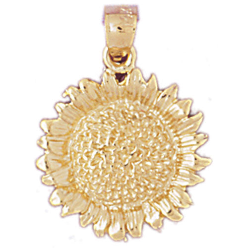 14k Yellow Gold Sunflower Charm