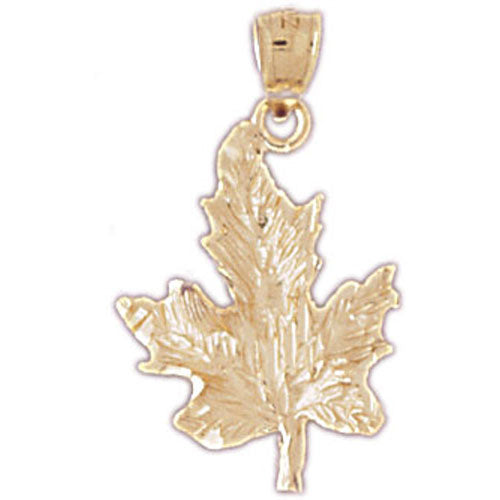 14k Yellow Gold Maple Leaf Charm