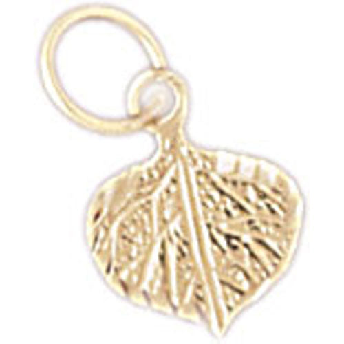 14k Yellow Gold Leaf Charm