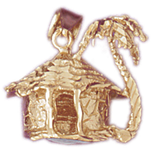 14k Yellow Gold 3-D Palm Tree and Hut Charm