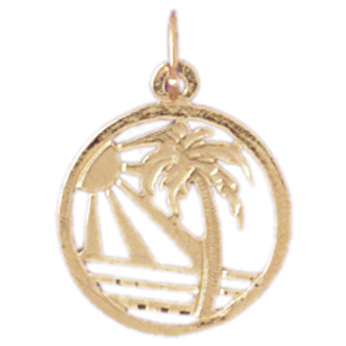 14k Yellow Gold Palm Trees Charm