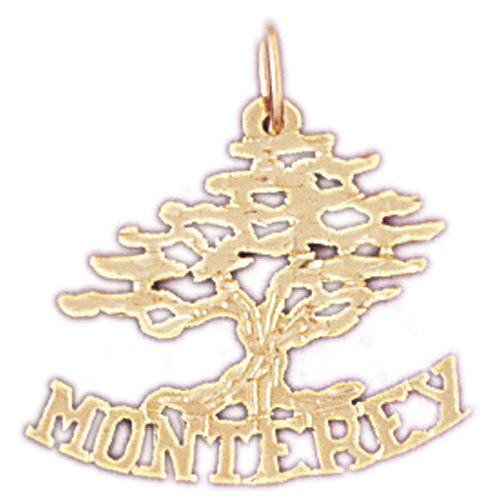 14k Yellow Gold Monterey Cedar Tree Charm