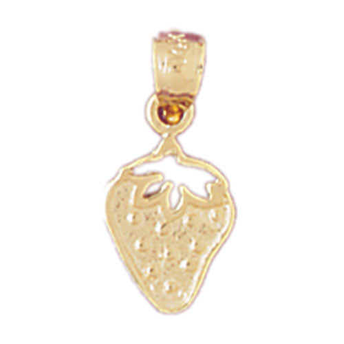 14k Yellow Gold Strawberry Charm