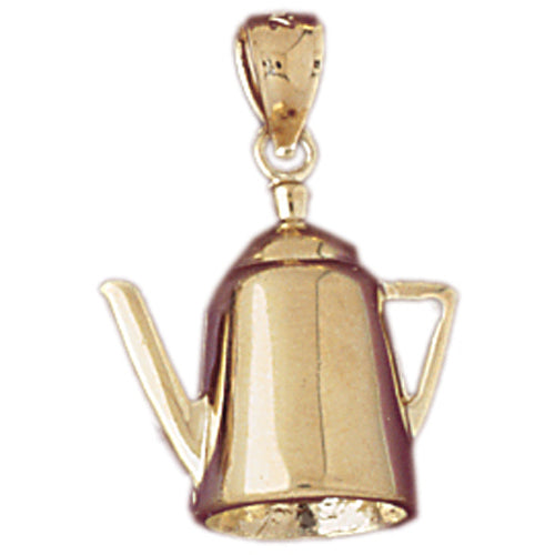 14k Yellow Gold 3-D Water Kettle Charm