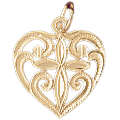 14k Yellow Gold Heart with Cross  Charm