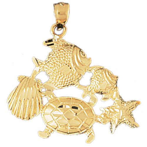 14k Yellow Gold Turtle, Starfish, Tropical Fish, and Shell Charm