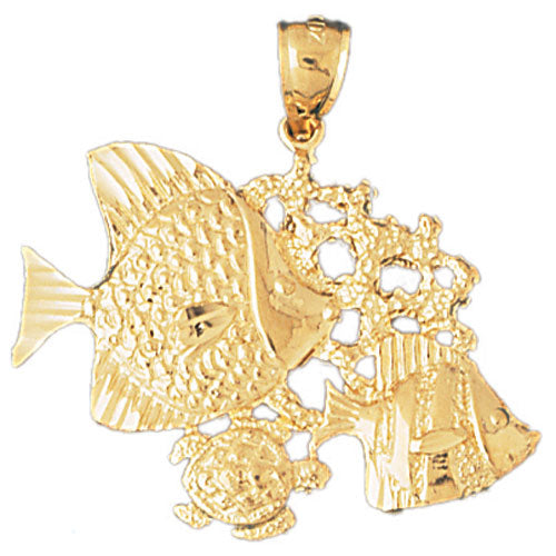 14k Yellow Gold Tropical Fish, Coral and Turtle Charm