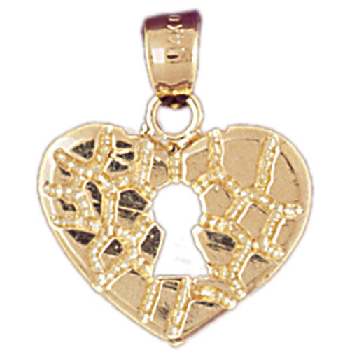 14k Yellow Gold Nugget Heart Padlock, Lock Charm