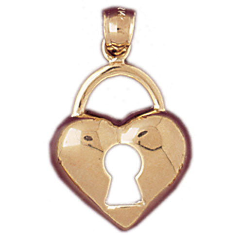 14k Yellow Gold Heart Padlock, Lock Charm