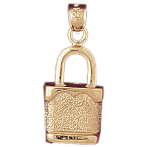 14k Yellow Gold Padlock, Lock Charm