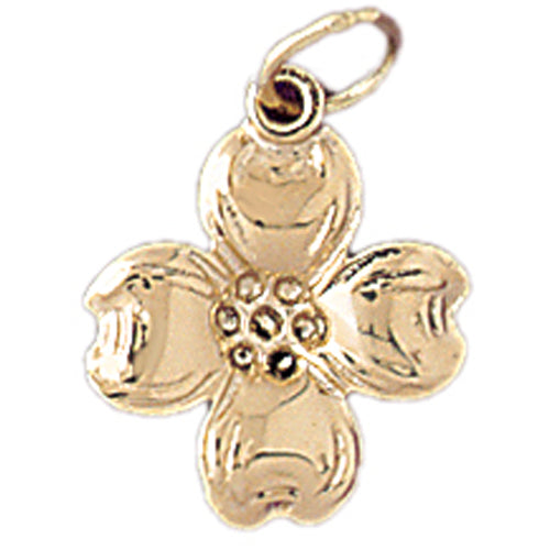 14k Yellow Gold Dogwood Leaf Charm