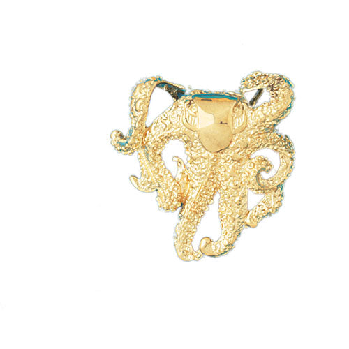 14k Yellow Gold Octopus Charm
