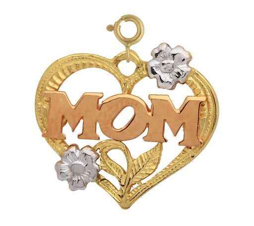 14k Gold Tri Color Heart with Mom Charm
