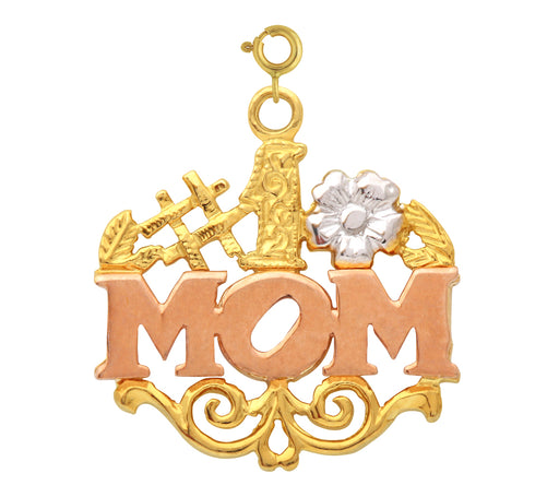 14k Gold Tri Color #1 Mom Charm