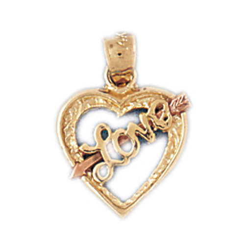 14k Gold Tri Color Heart with Love Charm