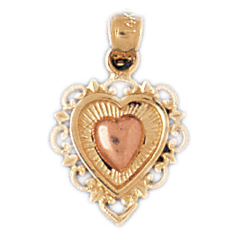 14k Gold Two Tone Heart Charm