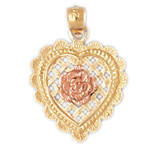 14k Gold Two Tone Heart with Flower Charm
