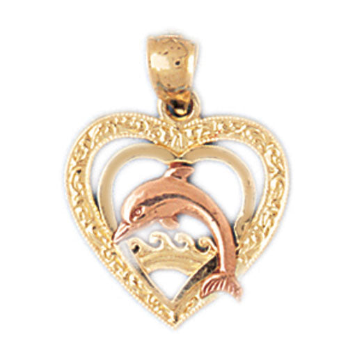 14k Gold Two Tone Dolphin Heart Charm