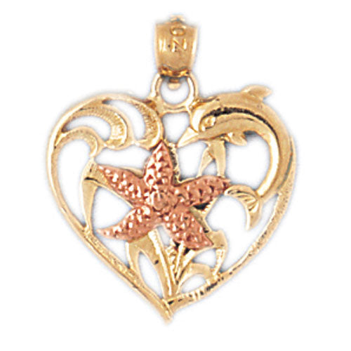14k Gold Two Tone Heart with Starfish Charm