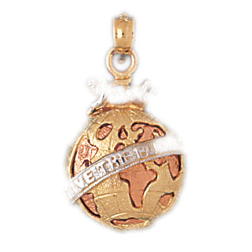 14k Gold Tri Color Globe Charm