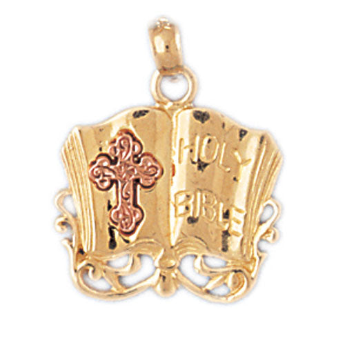 14k Gold Two Tone Holy Bible with Cross Charm