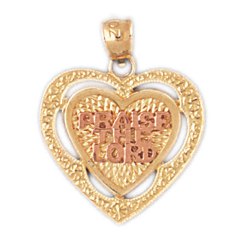 14k Gold Two Tone 'Praise the Lord' Heart Charm