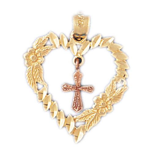 14k Gold Two Tone Heart with Cross Charm