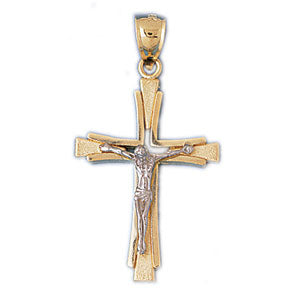 14k Gold Two Tone Crucifix Charm