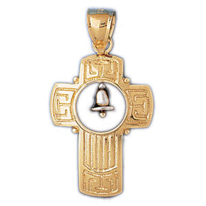 14k Gold Two Tone Cross with Bell Charm