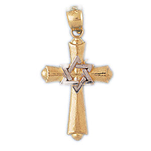 14k Gold Two Tone Cross with Star of David Charm