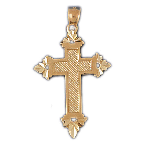 14k Yellow Gold Cross Charm