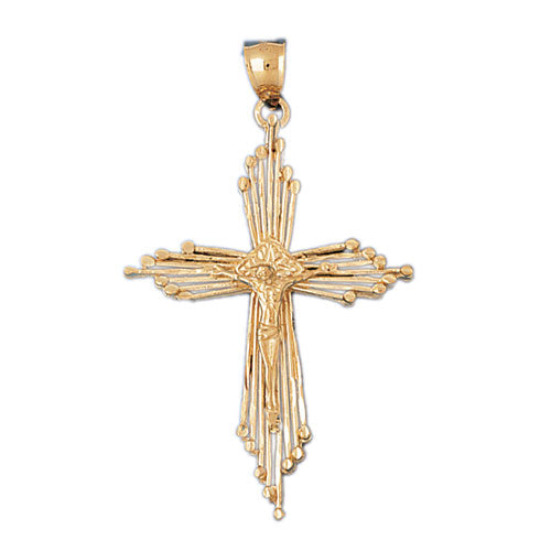 14k Yellow Gold Crucifix Charm