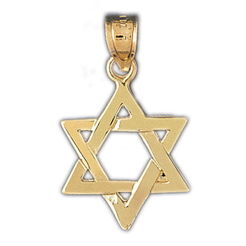 14k Yellow Gold Star of David Charm