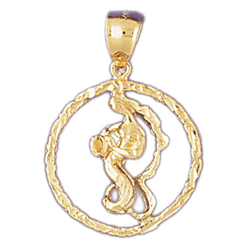 14k Yellow Gold Zodiac - Aquarius Charm