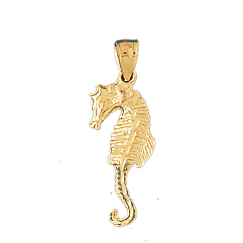 14k Yellow Gold Seahorse 3-D Charm