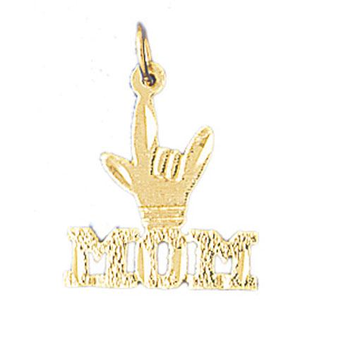 14k Yellow Gold I Love You Mom Charm