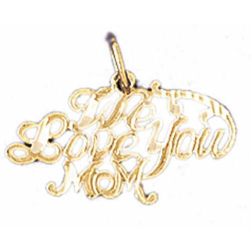 14k Yellow Gold We Love You Mom Charm