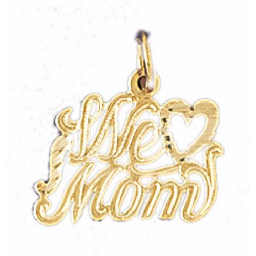 14k Yellow Gold We Love Mom Charm