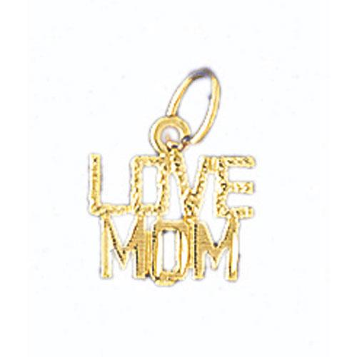 14k Yellow Gold Love Mom Charm