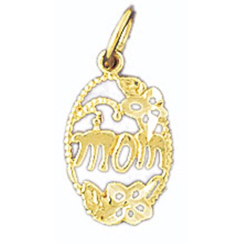 14k Yellow Gold Mom Charm