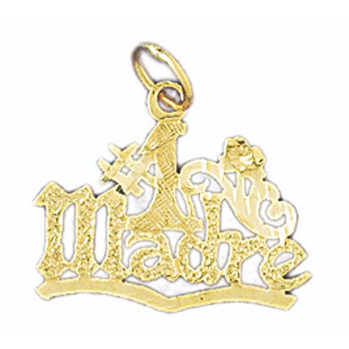 14k Yellow Gold # Mom Charm