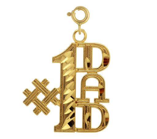 14k Yellow Gold Super Dad Charm