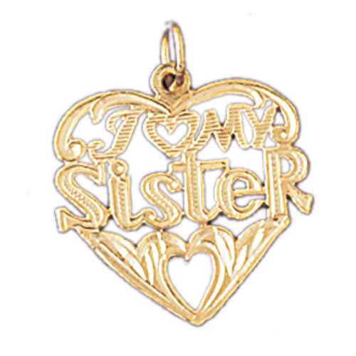 14k Yellow Gold I Love My Sister Charm
